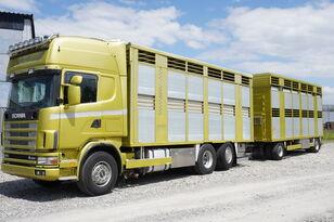 SCANIA R164 V8, 6x2, 2 hydraulic decks, 70m2 , live stock  kamion za prevoz konja + prikolica za prijevoz stoke