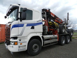 SCANIA R580 V8 z przyczepa DOLL kamion za prijevoz drva + šumarska prikolica
