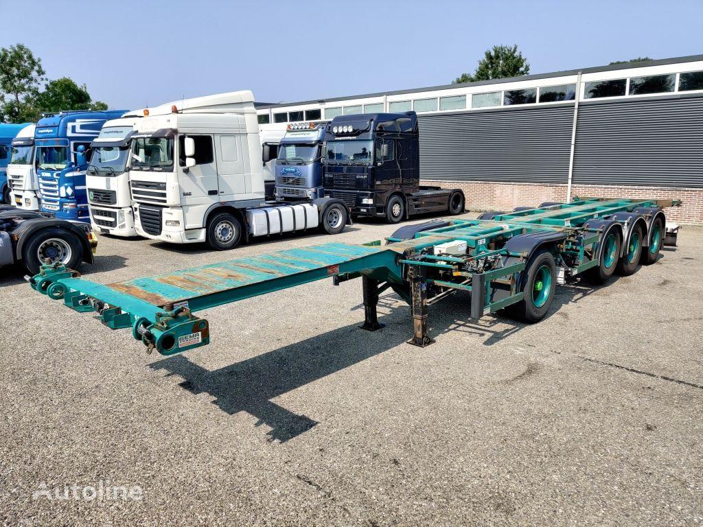 PACTON Containerchassis 4-assen / 1-as ROR - 2x Lift-assen - Meeloop st poluprikolica za prijevoz kontejnera